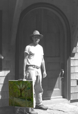 "RVJpleinaire, photo of Roger Vincent Jasaitis returning from painting ""en plein air""."