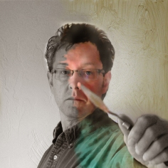 Self Portrait, mixed media, Roger Vincent Jasaitis, Autumn 2012, copyright RVJart.com