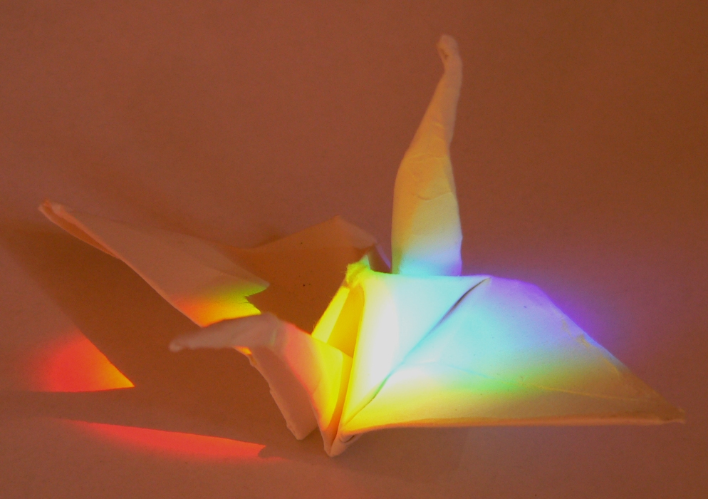 Senbazuru, photo of origami crane by Nancy Jane Lang, Copyright 2013, RVJart.com