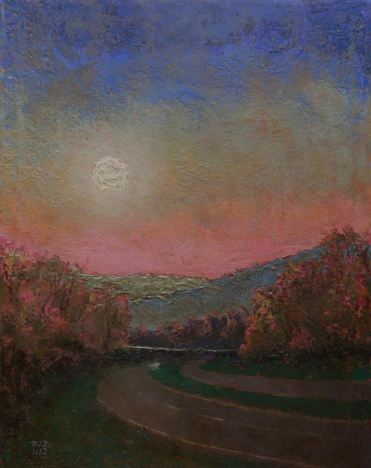 Moonrise 91, oil painting by Roger Vincent Jasaitis, RVJart.com, Copyright 2013
