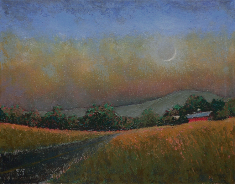 Moonset 5, oil painting by Roger Vincent Jasaitis, RVJart.com, Copyright 2013