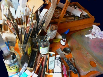 Beauty out of chaos, photo of the palette and paints of Roger Vincent Jasaitis, RVJart.com