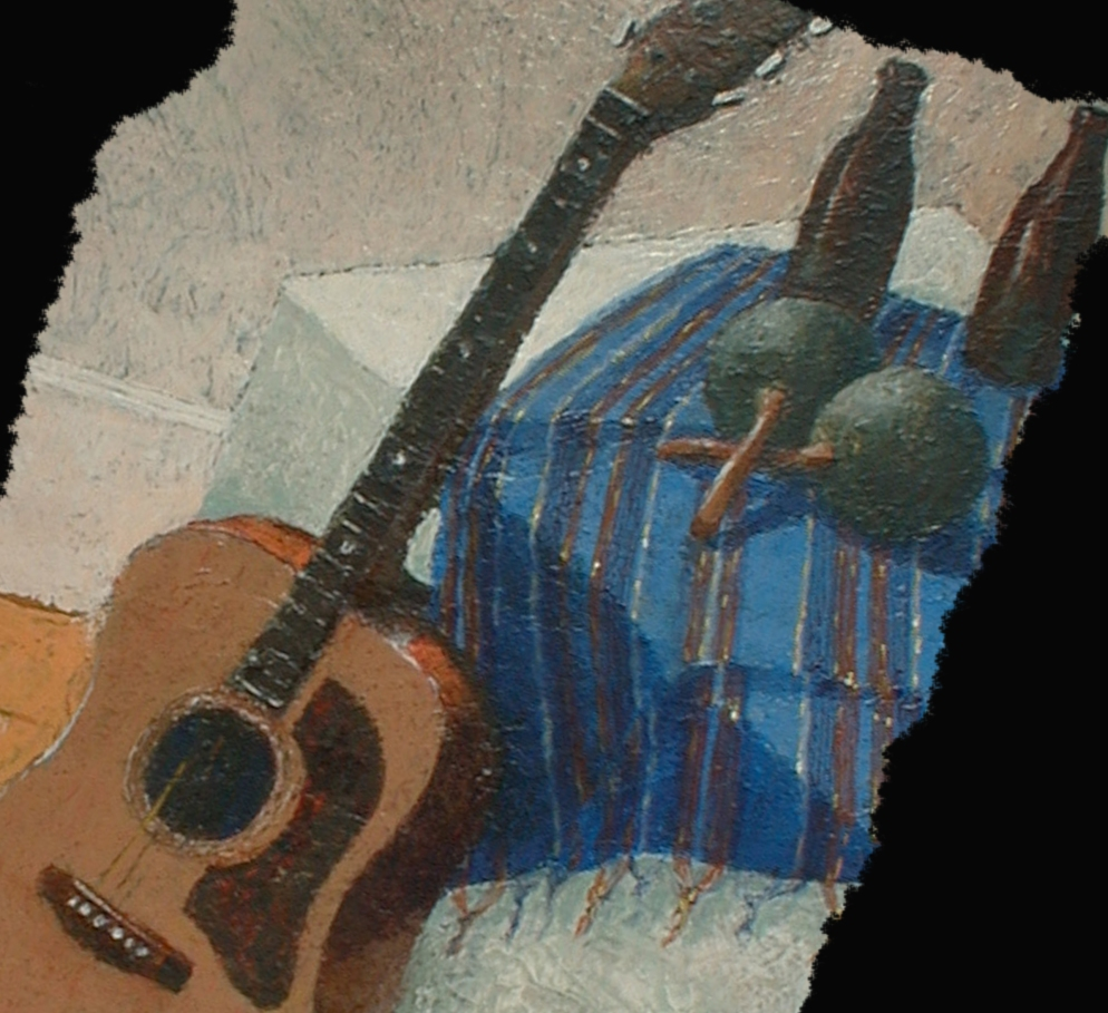 Guitarra y Maracas, Oil painting by Roger Vincent Jasaitis, RVJart.com, Copyright 2001