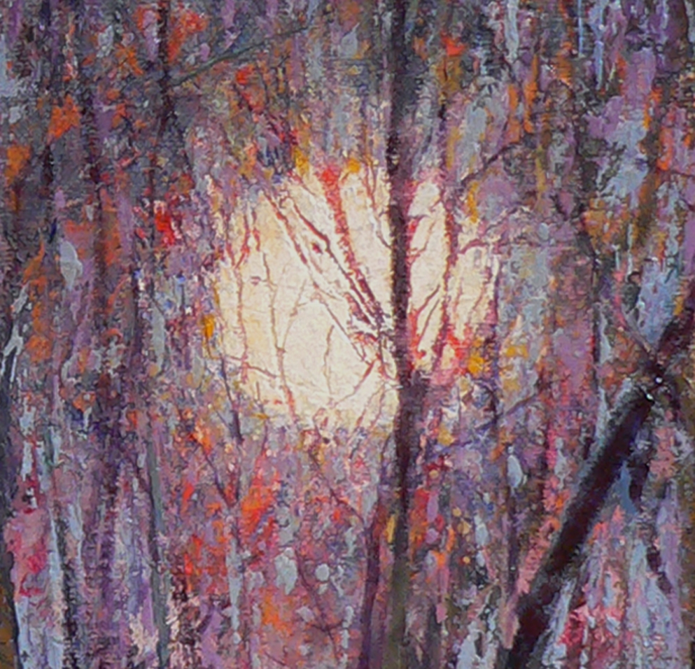 Moonset 214 detail, oil painting by Roger Vincent Jasaitis, RVJart.com, Copyright 2014 Roger Vincent Jasaitis