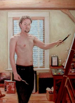 Self Portrait Summer 04, self portrait in oils by Roger Vincent Jasaitis, copyright RVJart.com