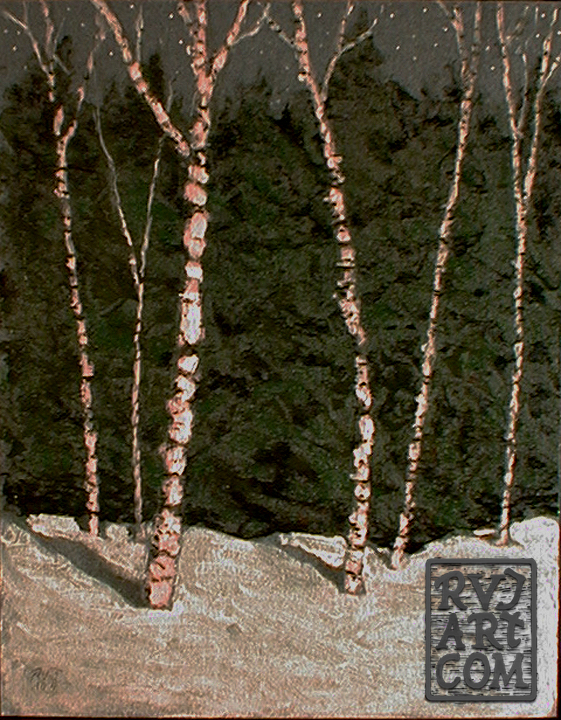 Midnight Birches, oil painting by Roger Vincent Jasaitis, RVJart.com