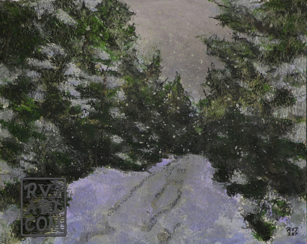 Snowy Trail, oil painting by Roger Vincent Jasaitis, RVJart.com