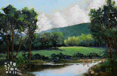 Cold River, oil painting by Roger Vincent Jasaitis, copyright 2012, RVJart.com