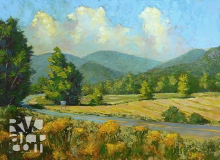 Entering Townshend, oil painting by Roger Vincent Jasaitis, copyright 2012, RVJart.com