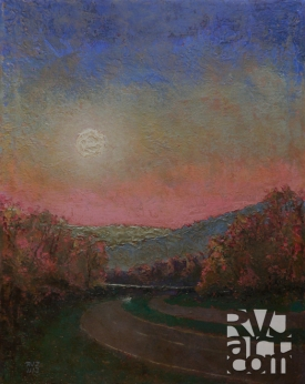 Moonrise 91, oil painting by Roger Vincent Jasaitis, copyright 2013, RVJart.com