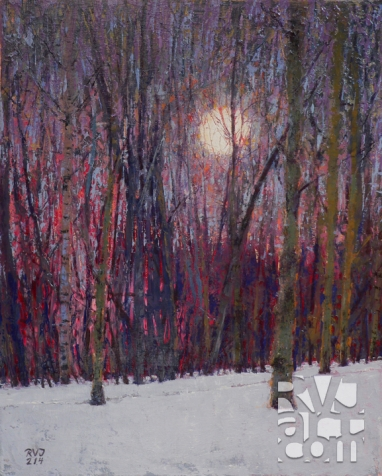 Moonset 214, oil painting by Roger Vincent Jasaitis, copyright 2013, RVJart.com