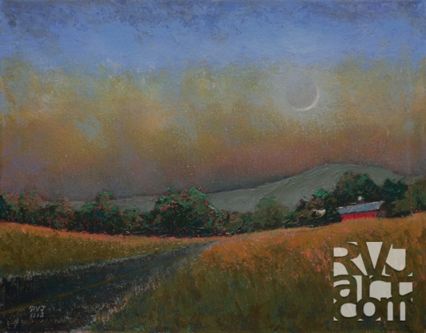 Moonset 5, oil painting by Roger Vincent Jasaitis, copyright 2013, RVJart.com