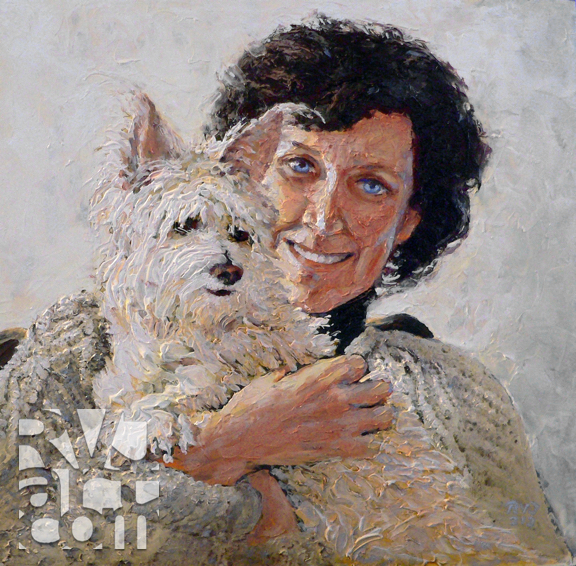 Nancy & Tinker,  oil painting by Roger Vincent Jasaitis, copyright 2013, RVJart.com