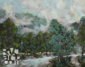 River Mist, oil painting by Roger Vincent Jasaitis, copyright 2012, RVJart.com