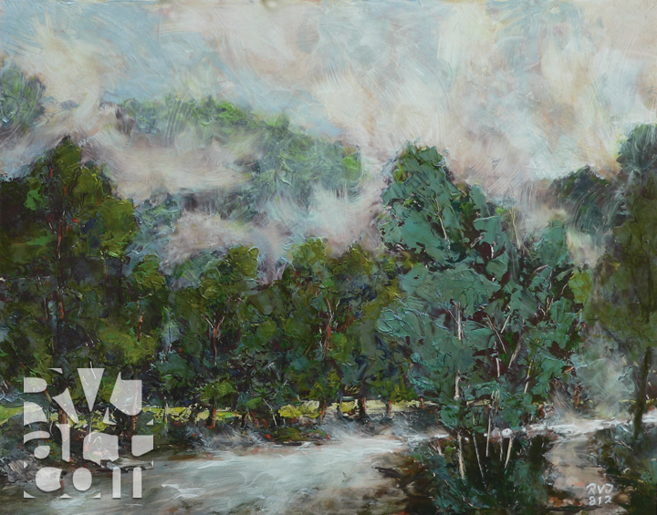 River Mist, oil painting by Roger Vincent Jasaitis, copyright 2012, RVJart.com
