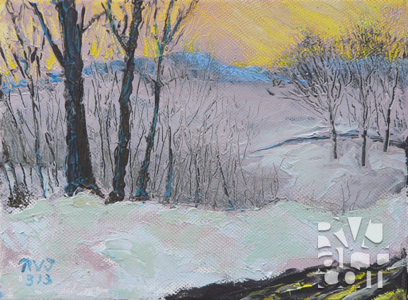 Spring Mist, oil painting by Roger Vincent Jasaitis, copyright 200x, RVJart.com