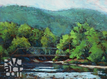 Bridge to Brookline, oil painting by Roger Vincent Jasaitis, copyright 2012, RVJart.com