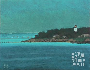 West Chop Light, oil painting by Roger Vincent Jasaitis, copyright 2005, RVJart.com