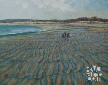 The Beachcombers ,oil painting by Roger Vincent Jasaitis, copyright 2007, RVJart.com