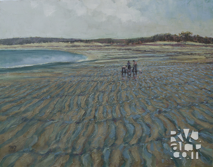 Beachcombers ,oil painting by Roger Vincent Jasaitis, copyright 2007, RVJart.com
