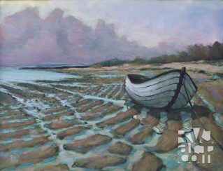 Casco Bay Fog Bank, oil painting by Roger Vincent Jasaitis, copyright 2008, RVJart.com