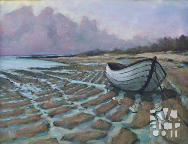 Casco Bay Fog Bank, oil painting by Roger Vincent Jasaitis, copyright 2008, RVJart.com
