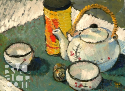 Chinese Tea, oil painting by Roger Vincent Jasaitis, copyright 2001, RVJart.com