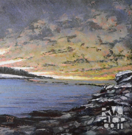 Crescent Beach Breakwater, oil painting by Roger Vincent Jasaitis, copyright 2006, RVJart.com
