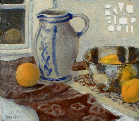 Great grandmother Yocum's pitcher, oil painting by Roger Vincent Jasaitis, copyright 2001, RVJart.com