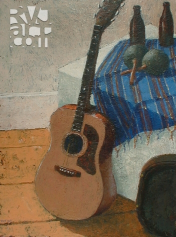Guitarra y maracas, oil painting by Roger Vincent Jasaitis, copyright 2001, RVJart.com pitcher