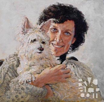 Nancy and Tinker, oil painting by Roger Vincent Jasaitis, copyright 2013, RVJart.com