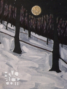 Sugarbush Moonrise, oil painting by Roger Vincent Jasaitis, copyright 2007, RVJart.com