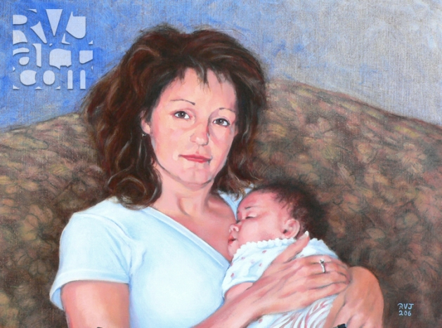 Tina and Sophia, oil painting by Roger Vincent Jasaitis, copyright 2006, RVJart.com