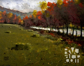 West River Treeline, oil painting by Roger Vincent Jasaitis, copyright 2007, RVJart.com