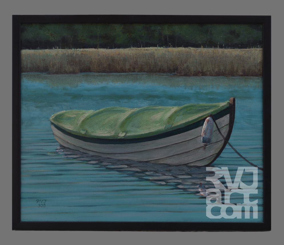 Peaceful Mooring, oil painting by Roger Vincent Jasaitis, copyright 2008, RVJart.com