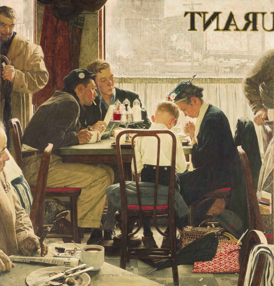 Saying Grace, painting by Norman Rockwell