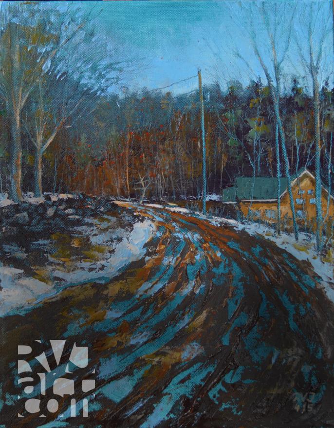 Crane Mtn Rd, Oil painting by Roger Vincent Jasaitis, RVJart.com, copyright 2015