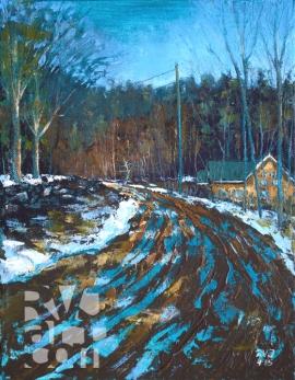 "Crane Mtn Road, Early Spring"", original oil painting by Roger Vincent Jasaitis, RVJart.com, Copyright 2015"