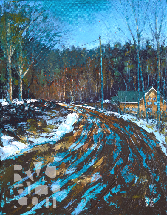 "Crane Mtn Road, Early Spring"", original oil painting by Roger Vincent Jasaitis, RVJart.com, Copyright 2015"