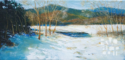 """Open Water, Late Winter"", original oil painting by Roger Vincent Jasaitis, RVJart.com, Copyright 2015"
