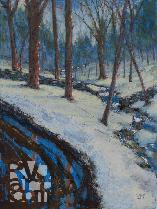 psalm 190 Misty Brook, original oil painting by Roger Vincent Jasaitis, RVJart.com, Copyright 2015