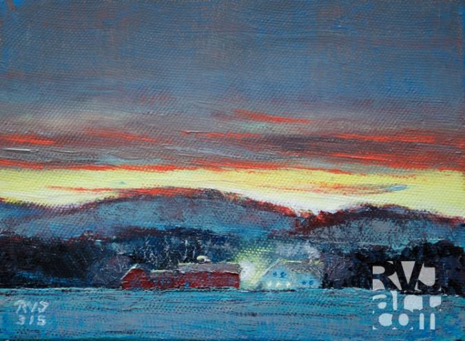 """Twilight, last day of winter"", original oil painting by Roger Vincent Jasaitis, RVJart.com, Copyright 2015"