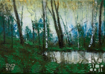 """Vernal Pool"", original oil painting by Roger Vincent Jasaitis, RVJart.com, Copyright 2015"