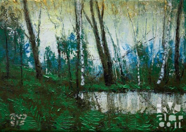 """Vernal Pool"", original oil painting by Roger Vincent Jasaitis, RVJart.com, Copyright 2015"