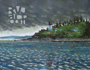 """Burnt Island Light"", original oil painting by Roger Vincent Jasaitis, RVJart.com, Copyright 2015"