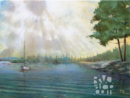 """psalm 191, Fog Burning Off"", original oil painting by Roger Vincent Jasaitis, RVJart.com, Copyright 2015"