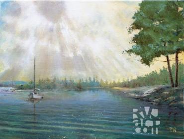 """psalm 191, Fog Burning Off"", original oil painting by Roger Vincent Jasaitis, RVJart.com, Copyright 2015"