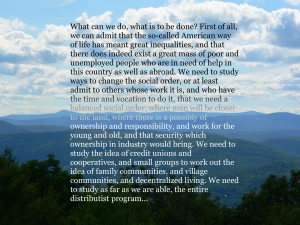 Photo of the view from Putney Mountain by Roger Vincent Jasaitis, RVjart.com, Text by Dorothy Day