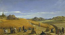 Ora et Labora (Pray and Work). This 1862 painting by John Rogers Herbert depicts monks at work in the fields with an abbey (the Trappist Mount St. Bernard Abbey) in the background