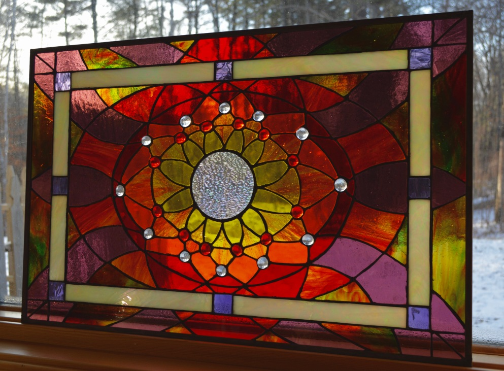 """Solstice Sun"" Stained Glass Design Copyright 2015 Roger Vincent Jasaitis, RVJart.com"